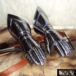 Medieval Gauntlets. 16,Gauge Steel With Leather Gloves